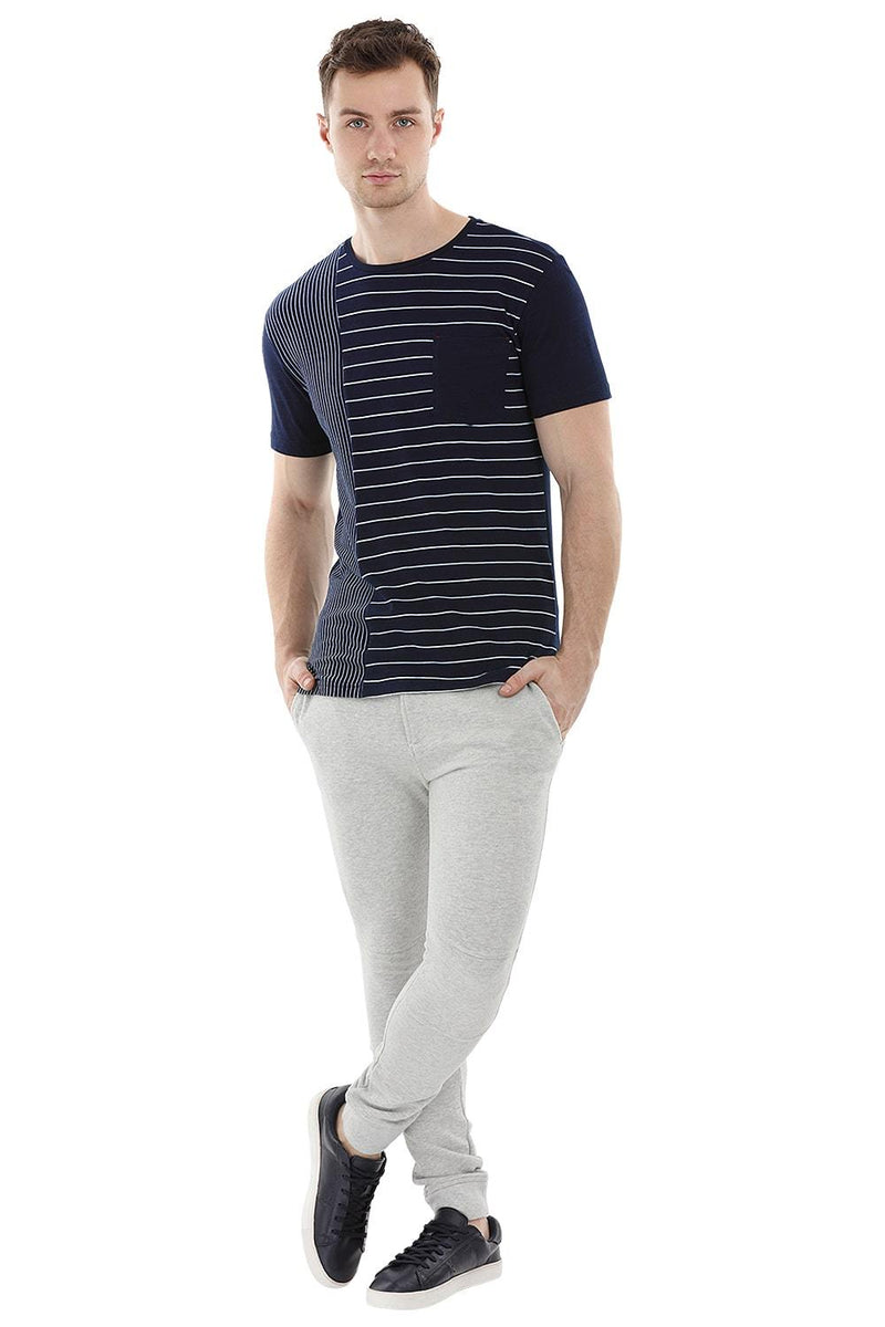 Stripe Block Navy T-Shirt