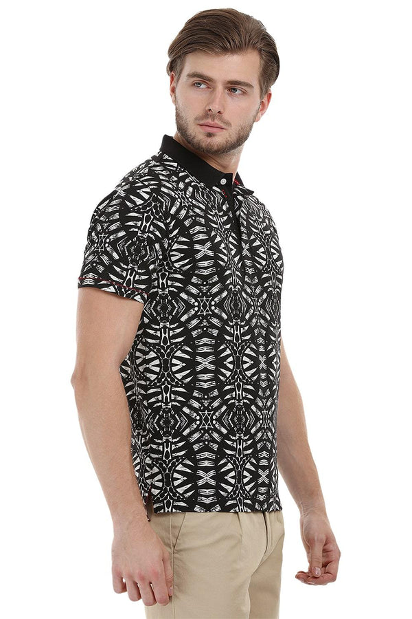 Tribal Print Polo T-Shirt