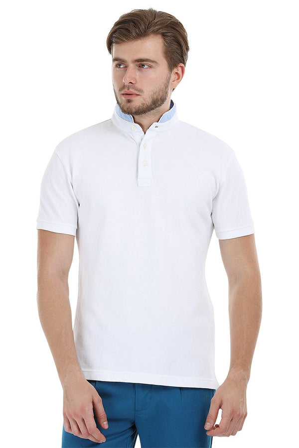 Mandarin Collar White Polo T-Shirt