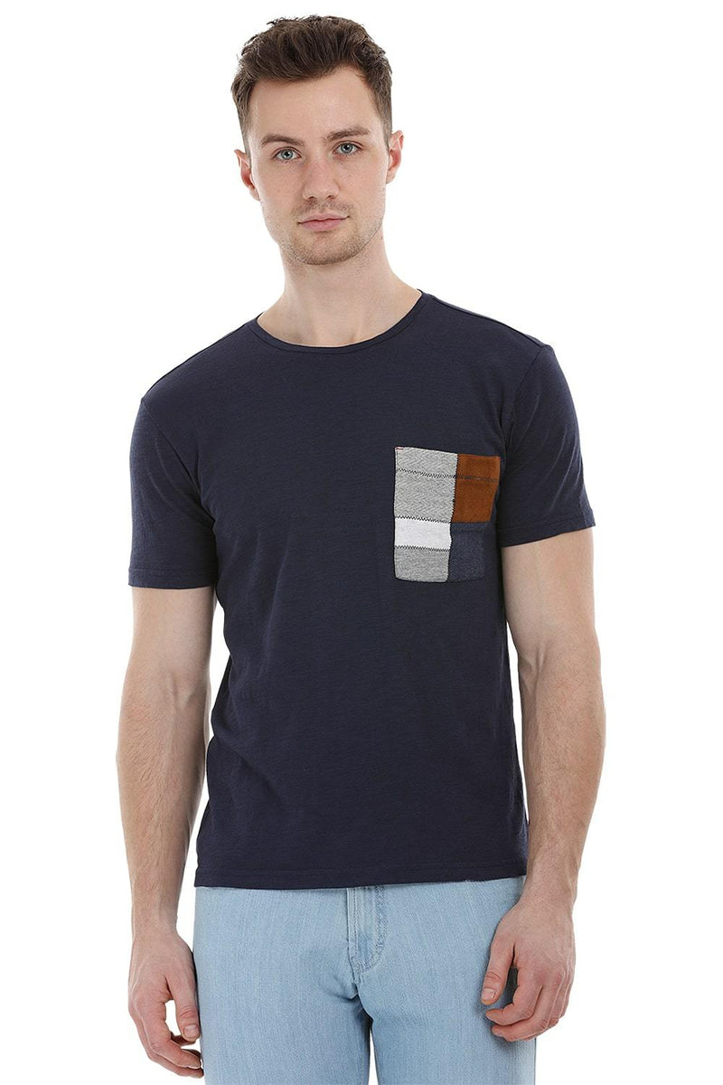 Navy Contrast Pocket T-Shirt