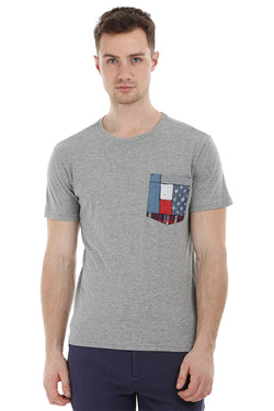 Grey Contrast Pocket T-Shirt