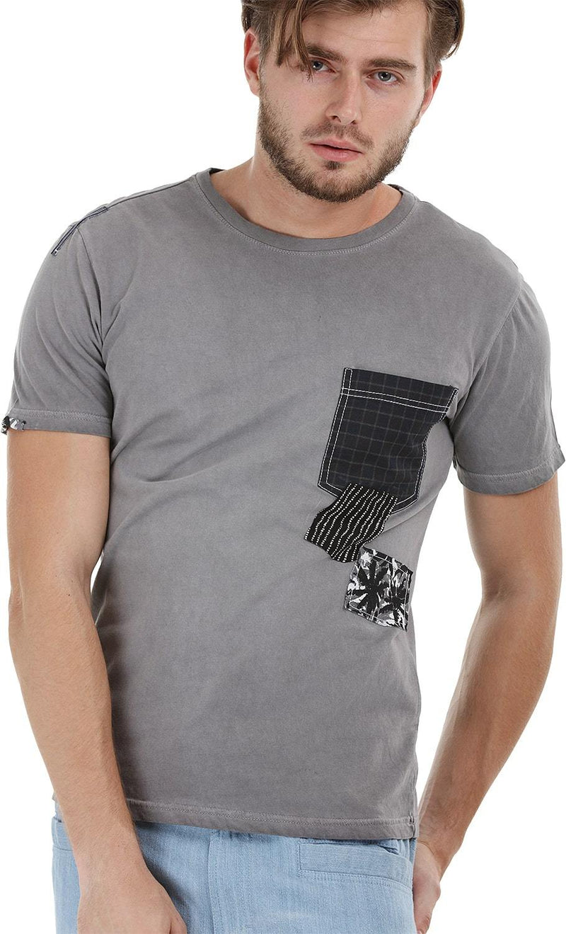Patchwork Stone Wash Grey T-Shirt