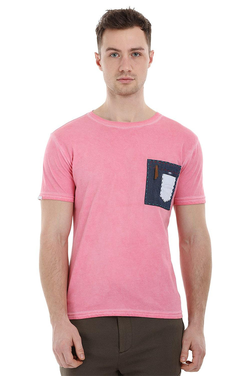 Patchwork Stone Wash Pink T-Shirt