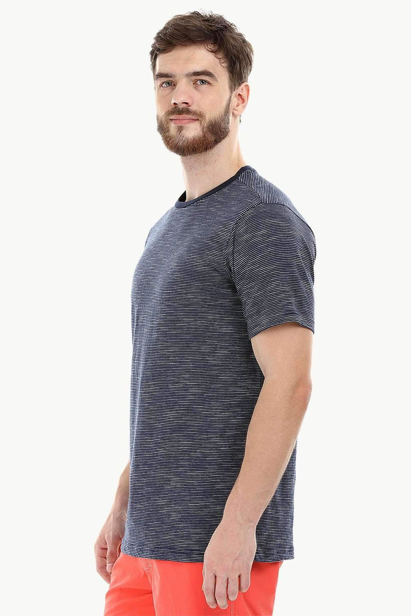 Navy Stripe Knit Crew T-Shirt