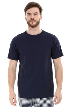 Navy Knit Crew Solid T-Shirt