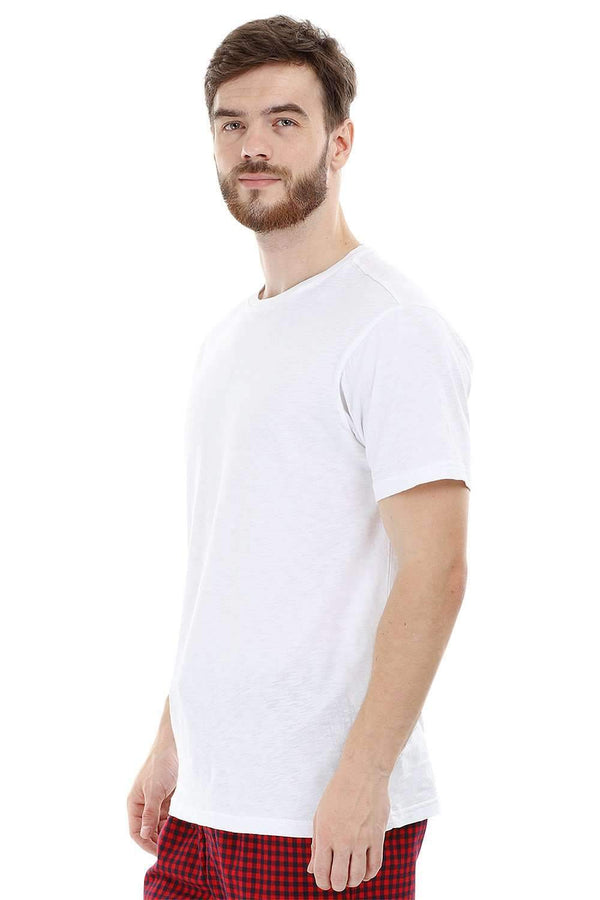 White Knit Crew Solid T-Shirt
