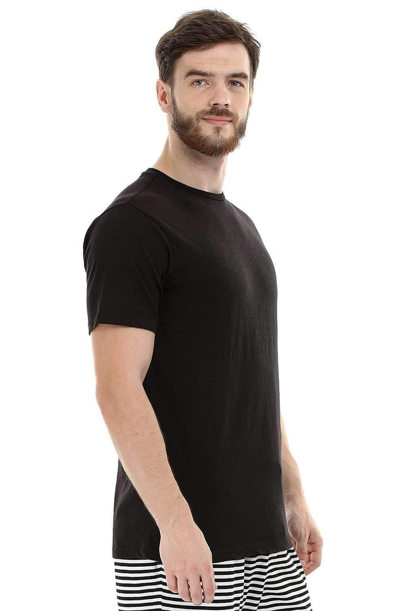 Black Solid Knit Crew T-Shirt