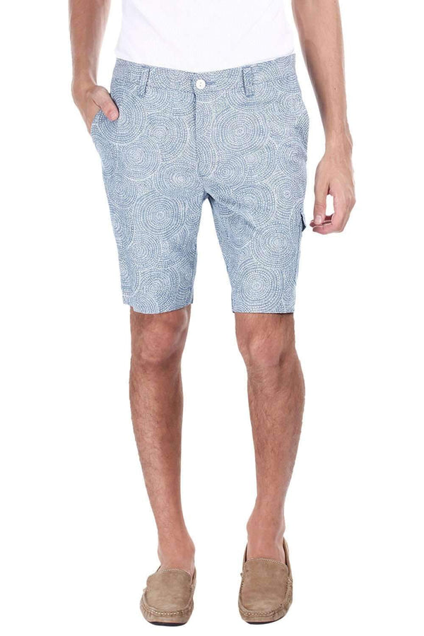 Printed Denim Enzyme Washed Shorts