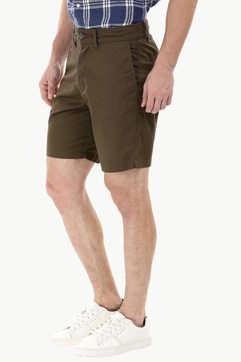 Olive Green Twill Chino Shorts