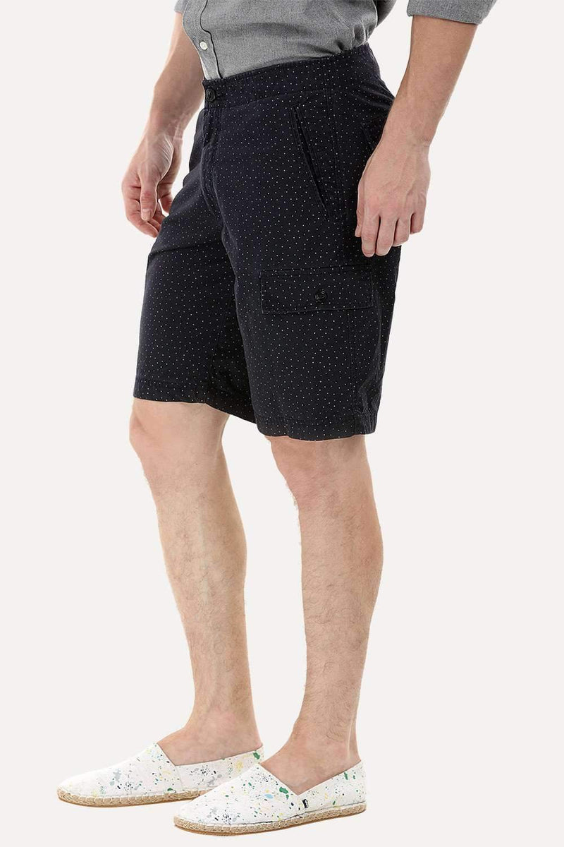 Black Printed Cargo Shorts