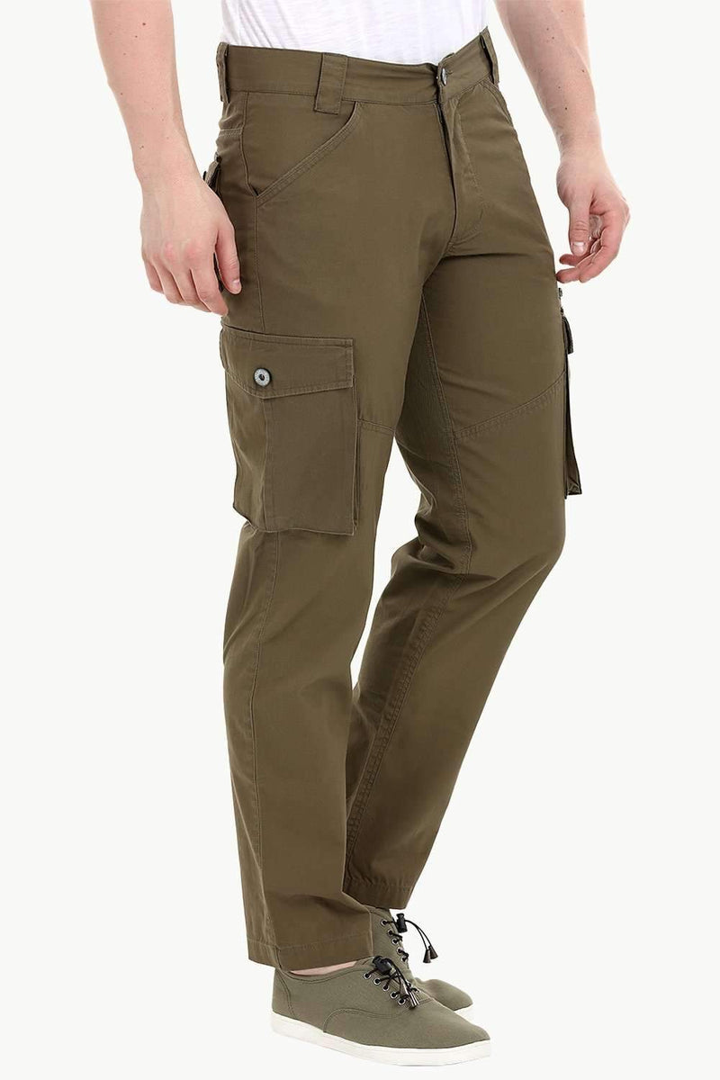 Men's Olive Green 7 Pocket Twill Cargo Pants