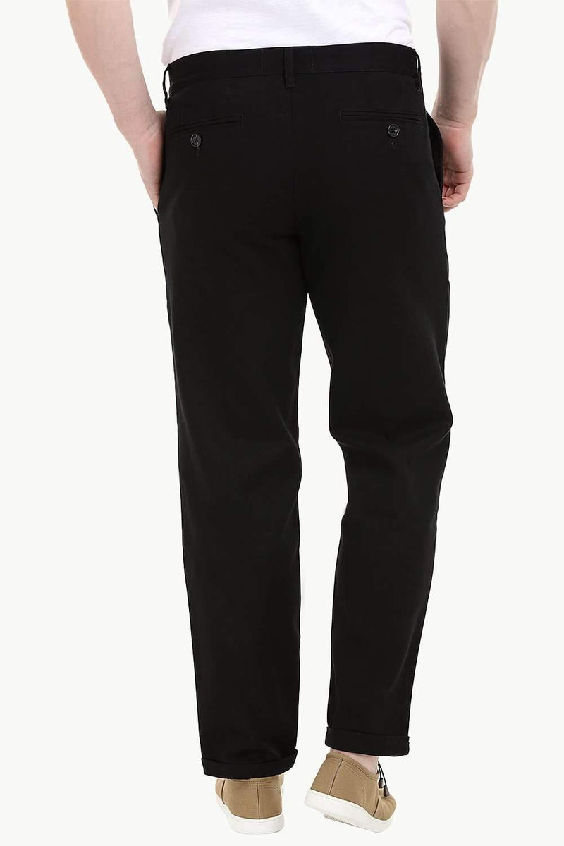 Men's Black Stretchable Straight Twill Pants