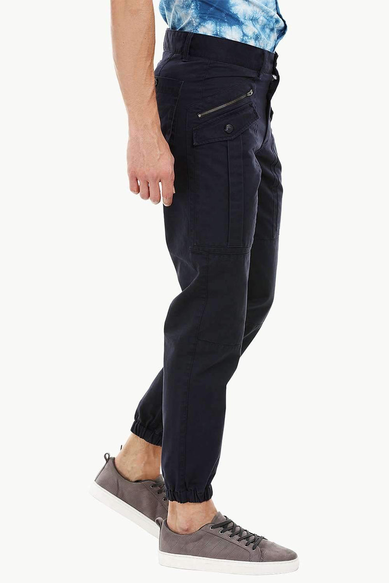 Mens Dark Navy Cuff Jogger Cargo Pants