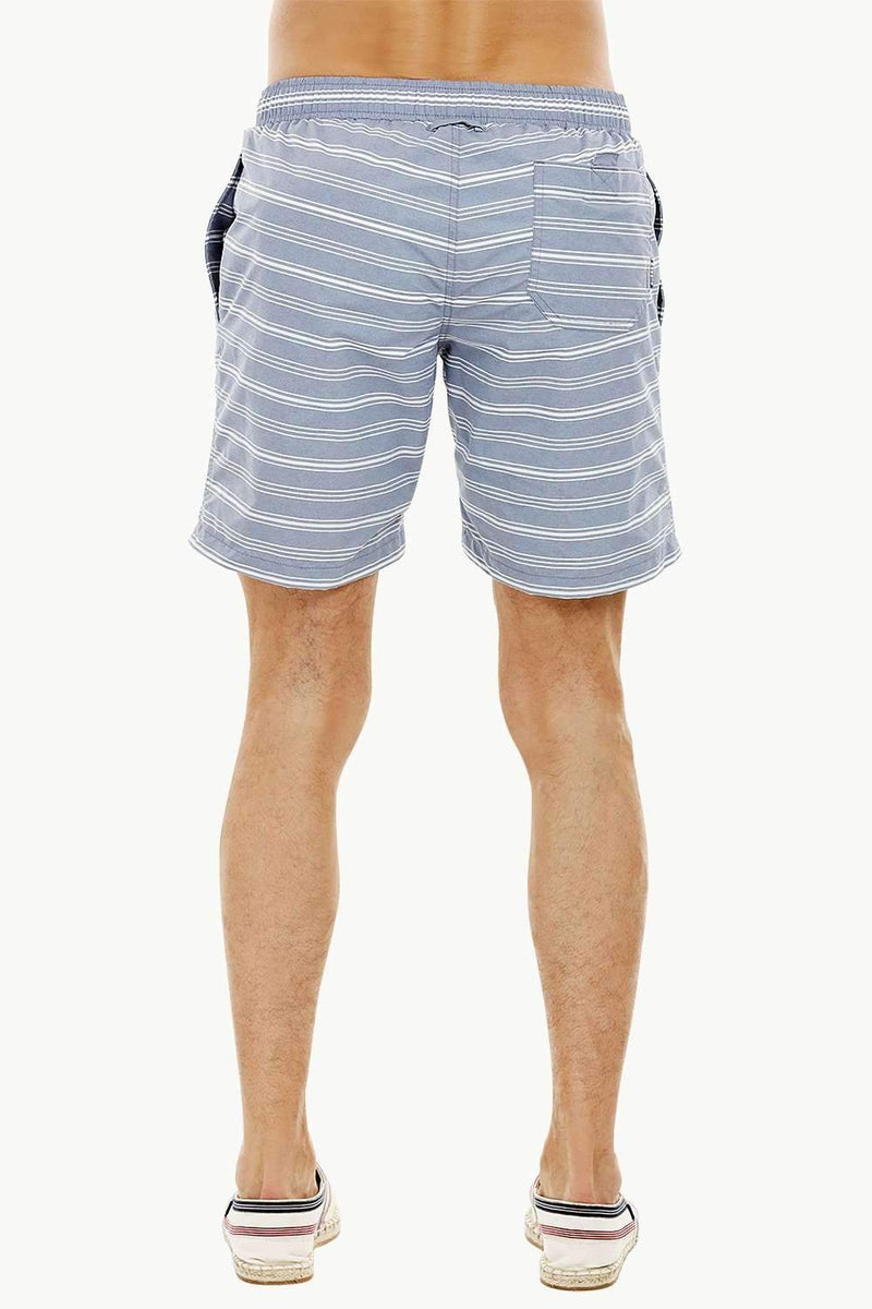 Mens Grey Stripe Quickdry Swimshorts
