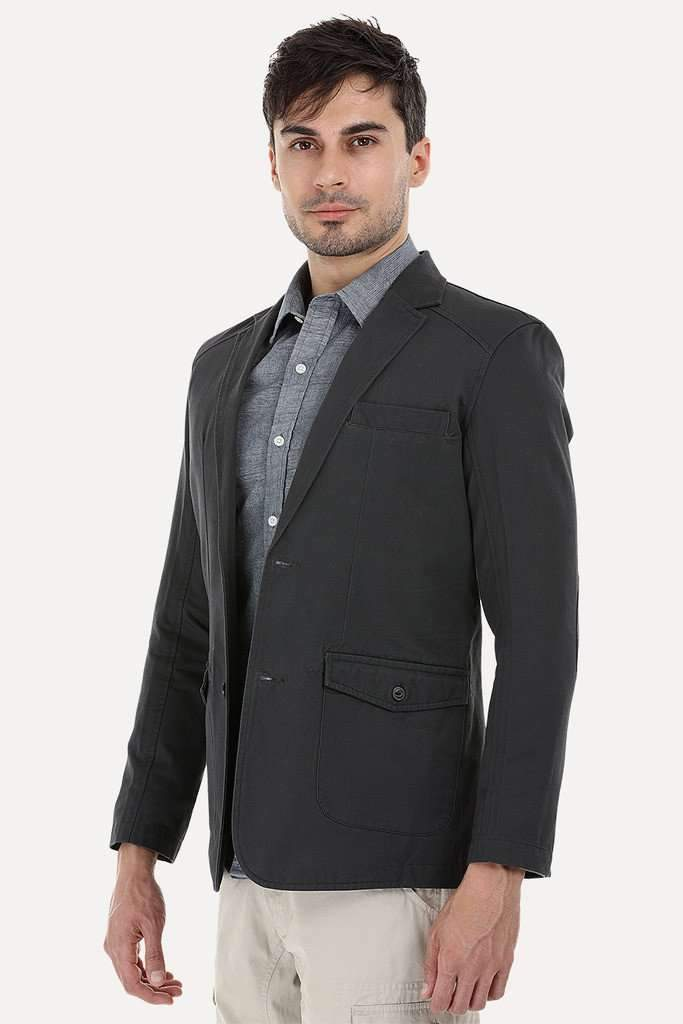 Solid Blazer with Elbow Patches