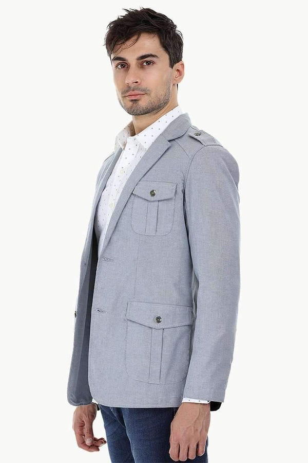 Solid Blazer with City Epaulettes