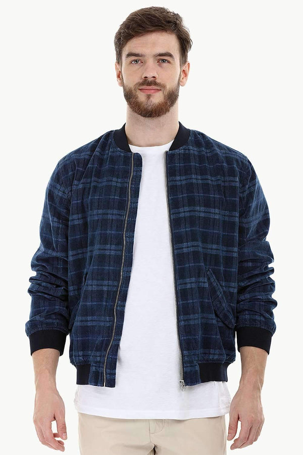 Corduroy Navy Check Bomber Jacket
