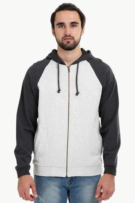Zipper Raglan Hooded Grey Jacket