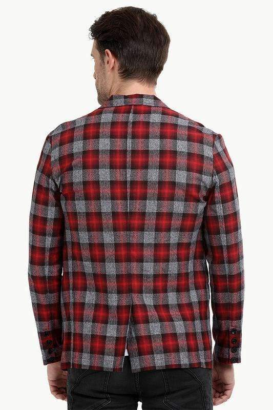 Cherry Tartan Plaid Casual Blazer