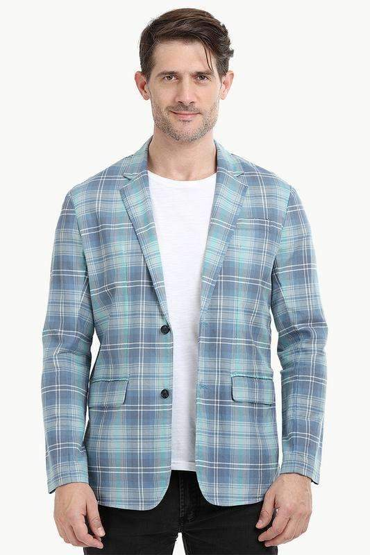 Mint Tartan Plaid Casual Blazer