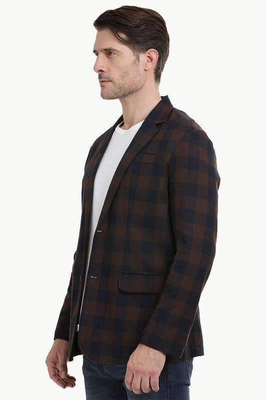 Autumn Check Brown Casual Blazer