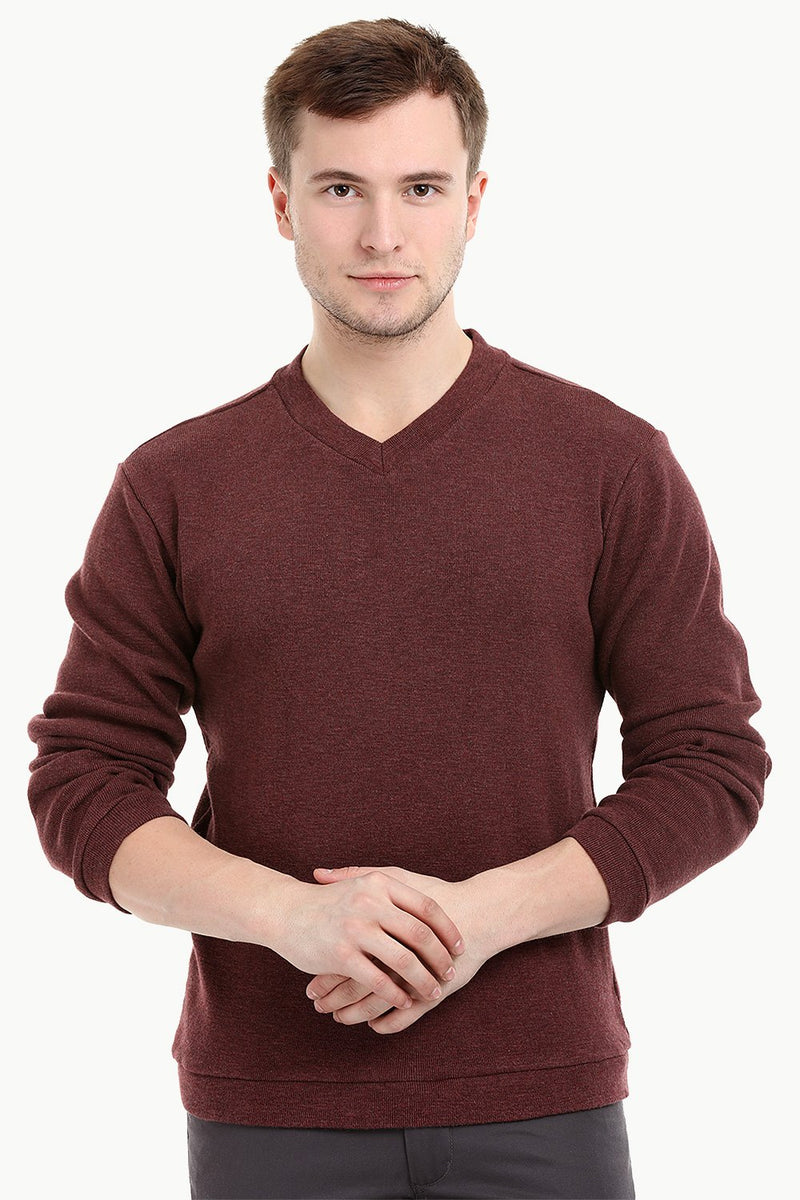 Men's Knit Maroon V-Neck Sweatshirt