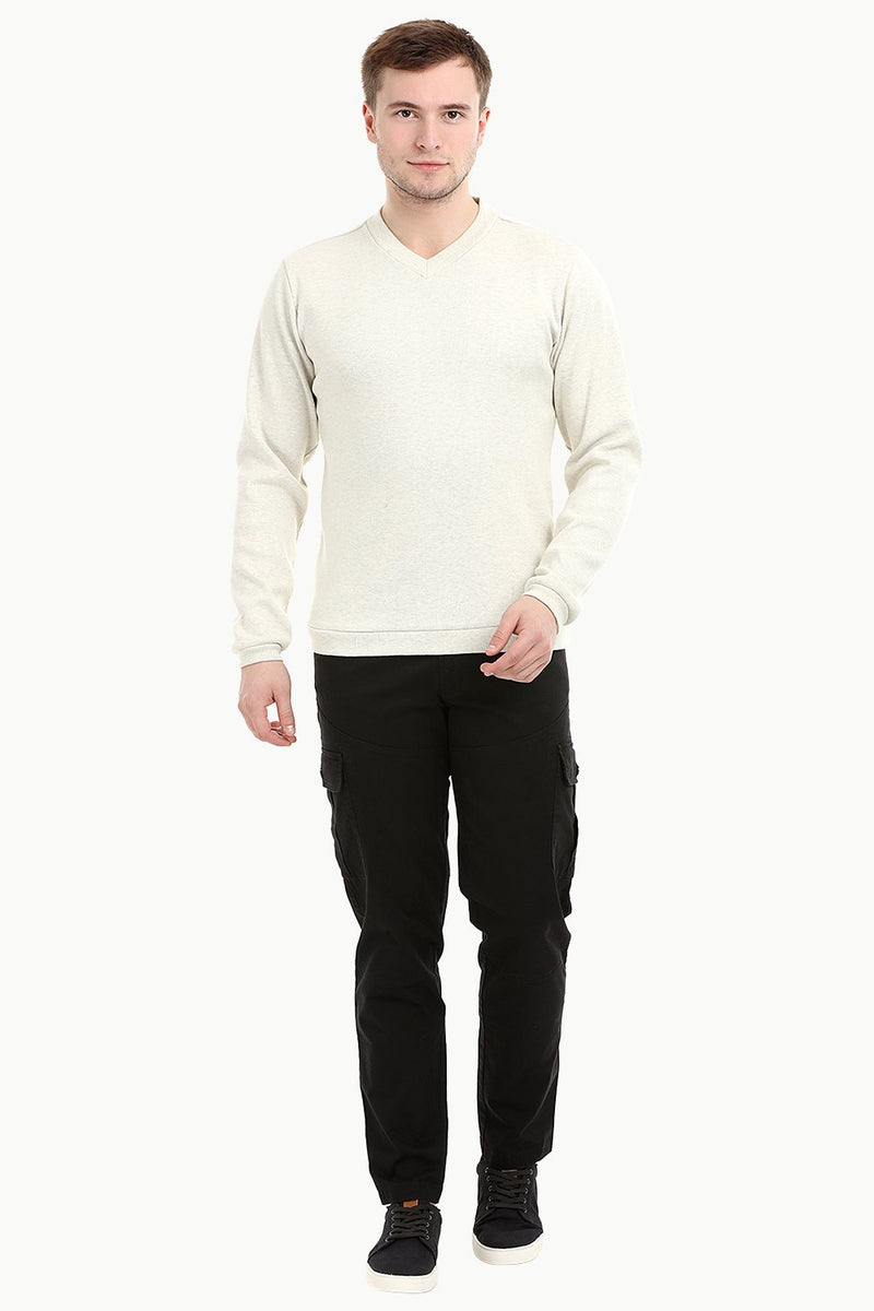 Men's Knit Navajo White V-Neck Sweatshirt