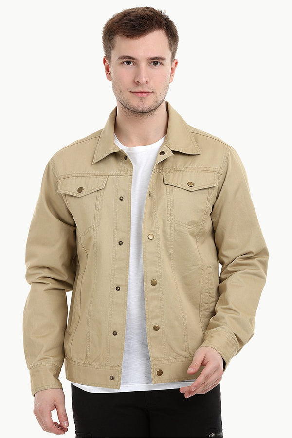 Men's Khaki Snap Button Closure Twill Jacket