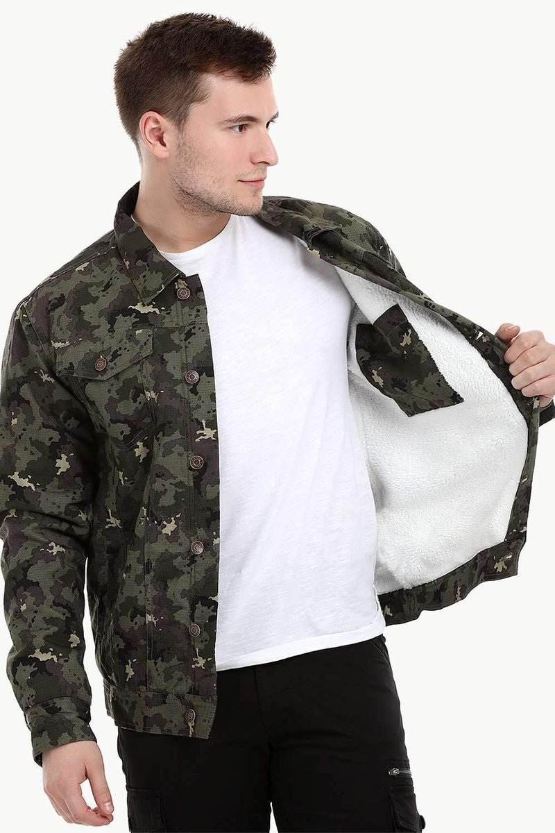 Men's Camo Print Sherpa Lined Jacket