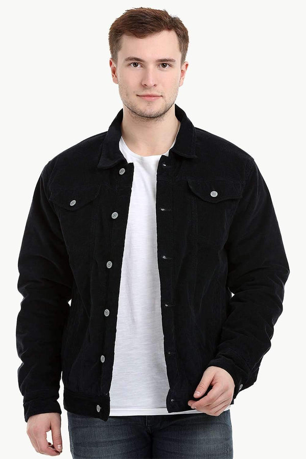 Men's Navy Corduroy Sherpa Lined Jacket