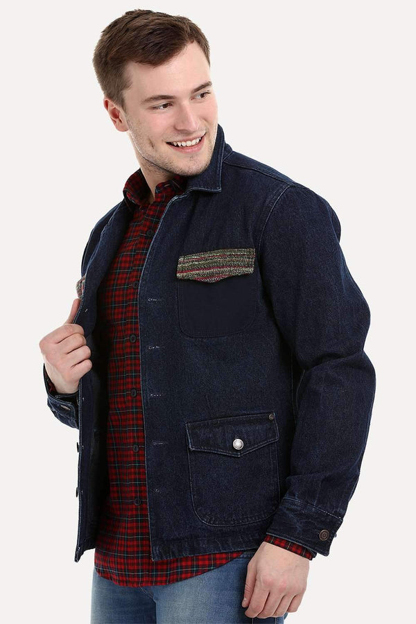 Men's Dark Wash Navy Denim Lapel Jacket