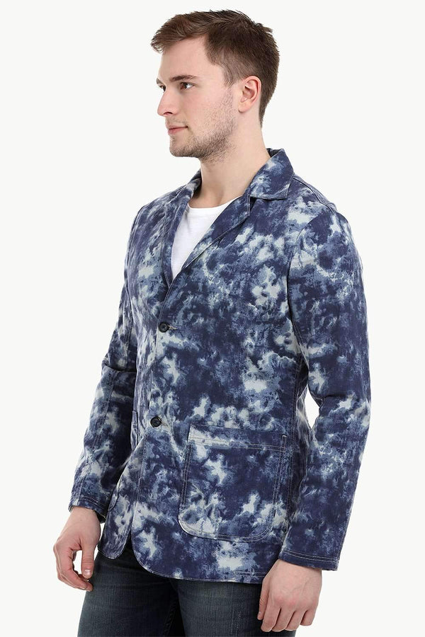 Men's Navy Tie-Dye 3 Button Blazer