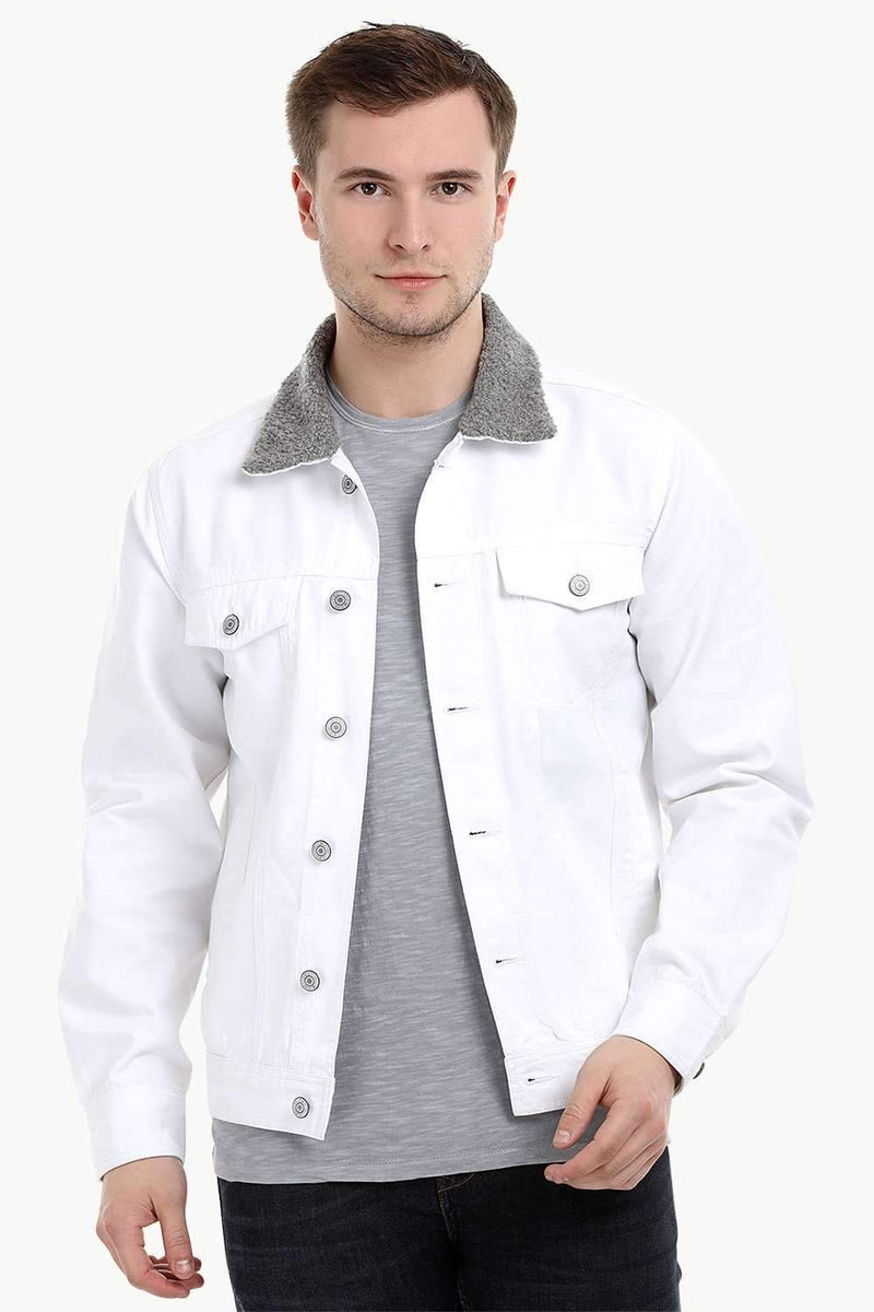 Men's White Sherpa Collar Twill Denim Jacket