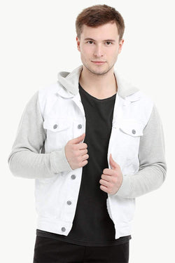 Men's Knit Sleeves Twill Denim Hood Jacket