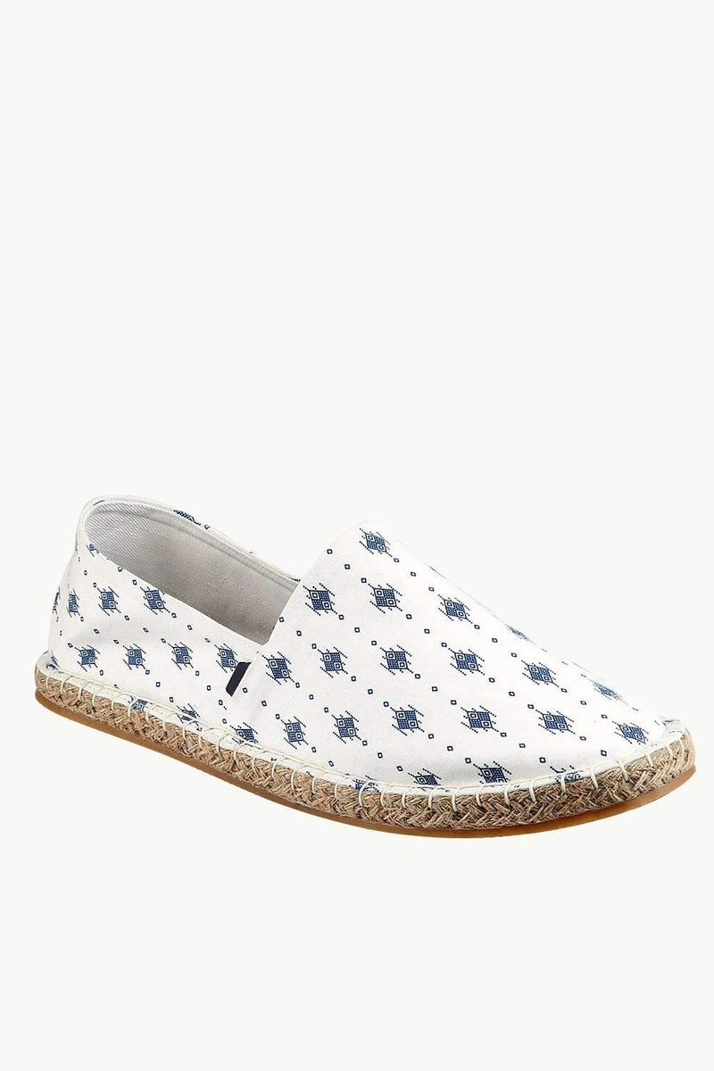 Men's Ethnic Print White Espadrilles