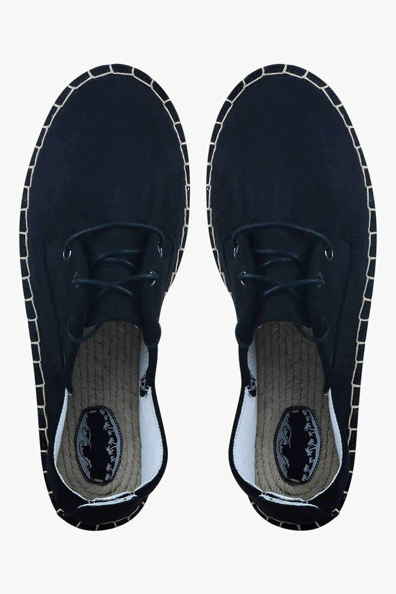 Men's Black Suede Lace Up Espadrilles