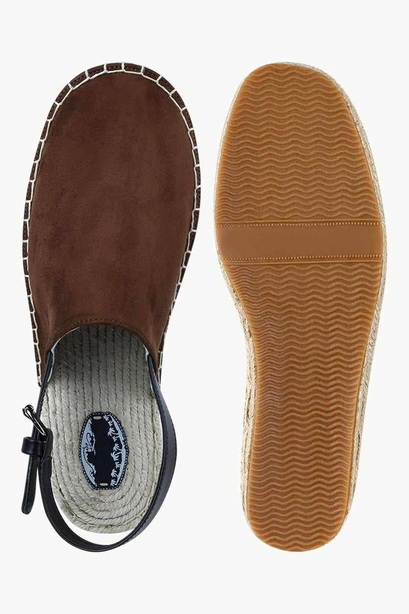 Men's Brown Faux Suede Strap Sandals