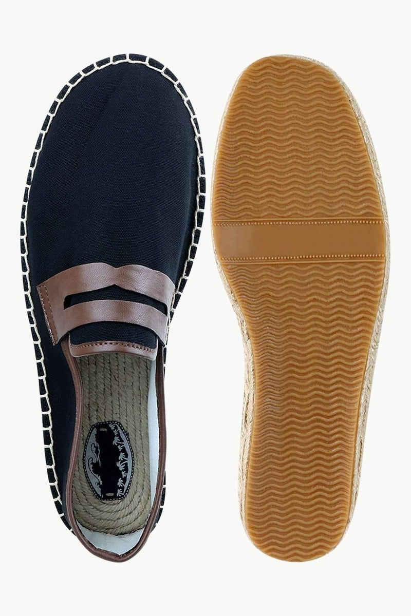 Men's Leather Patch Black Canvas Espadrilles