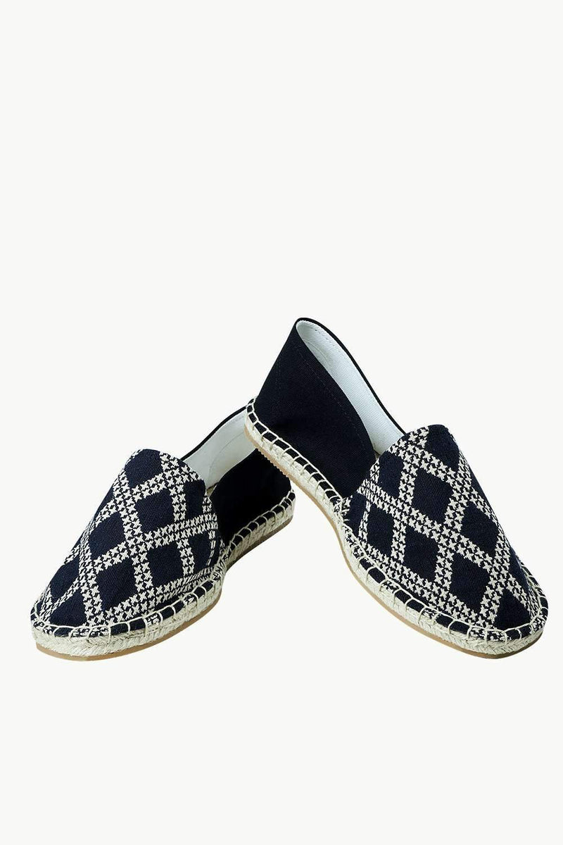 Men's Diagonal Check Print Espadrilles