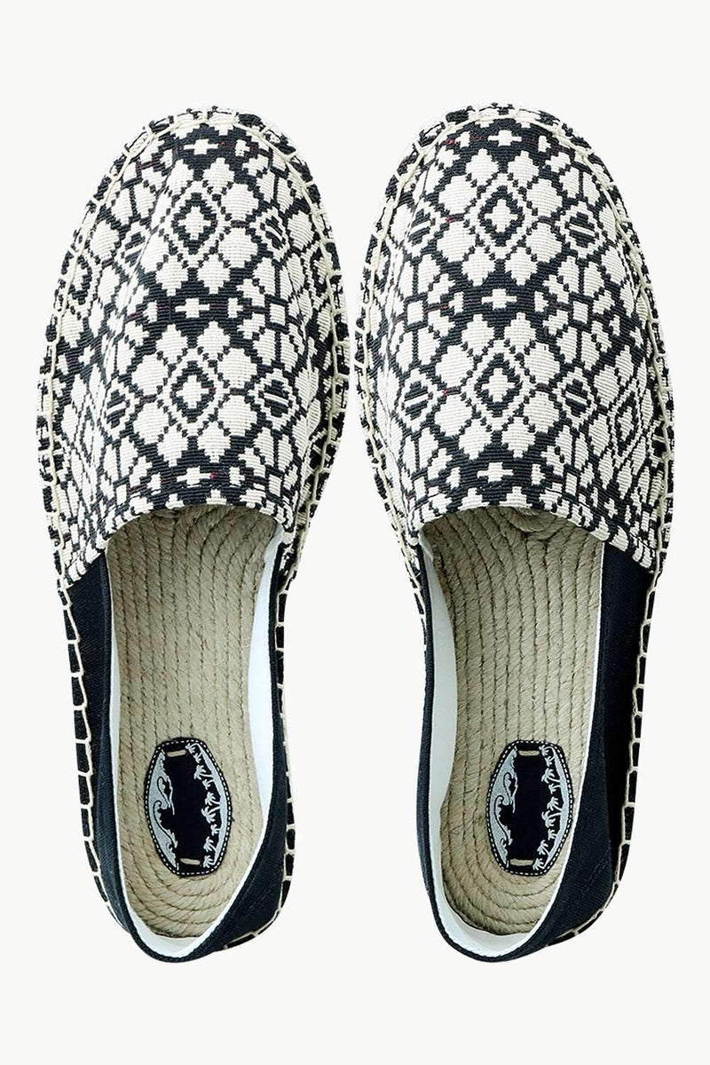 Men's Black n' White Knit Ethnic Espadrilles