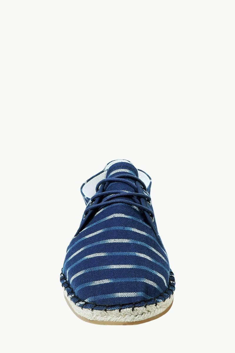 Men's Blue Jacquard Lace-up Espadrilles