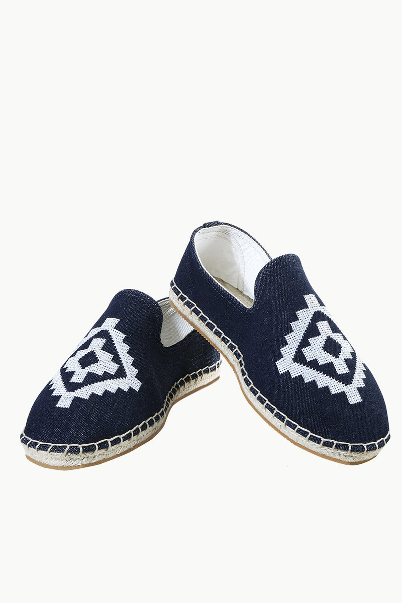 Mens Navy Denim Aztec Embroidered Espadrilles