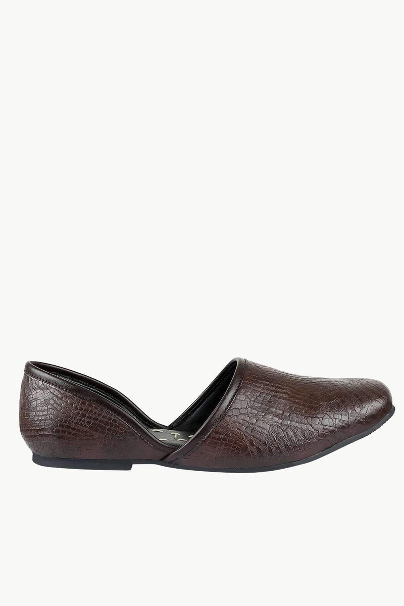 Men's Faux Leather Brown Juttis