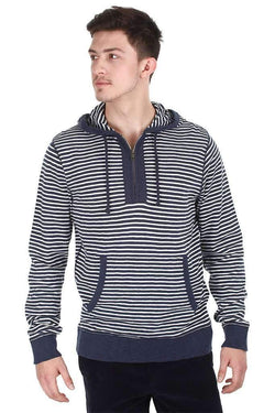 Heather Stripe Half Front Zip Hoodie