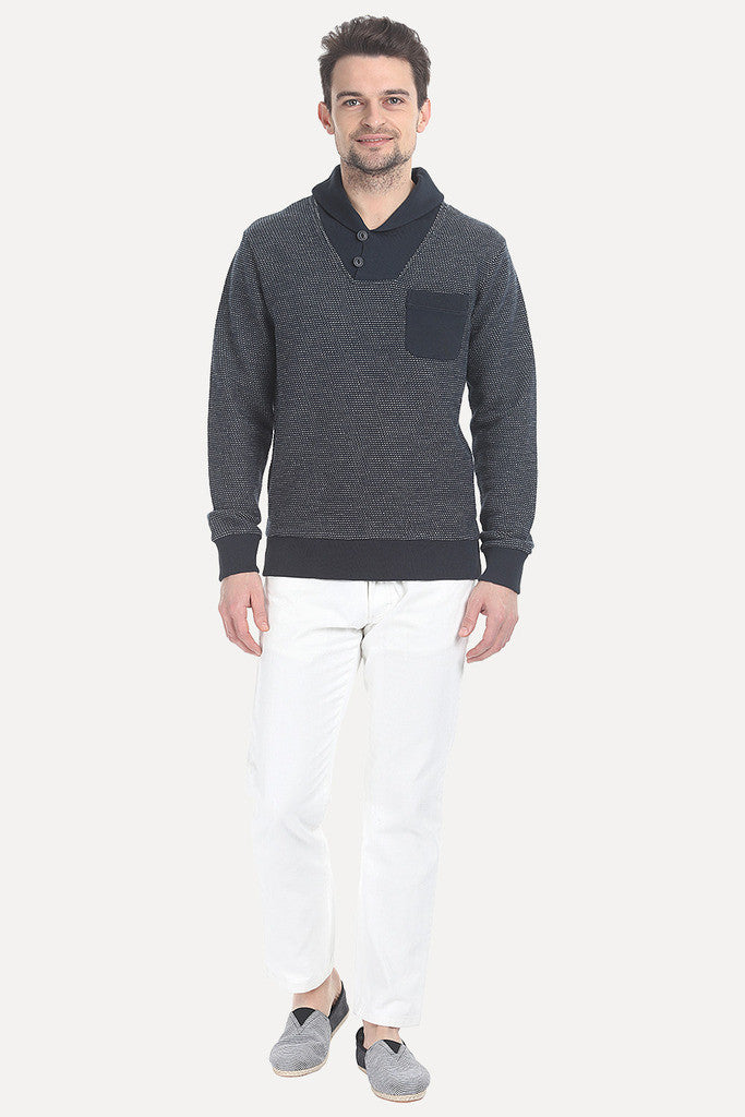 MÌ_å©lange Pullover With Collar
