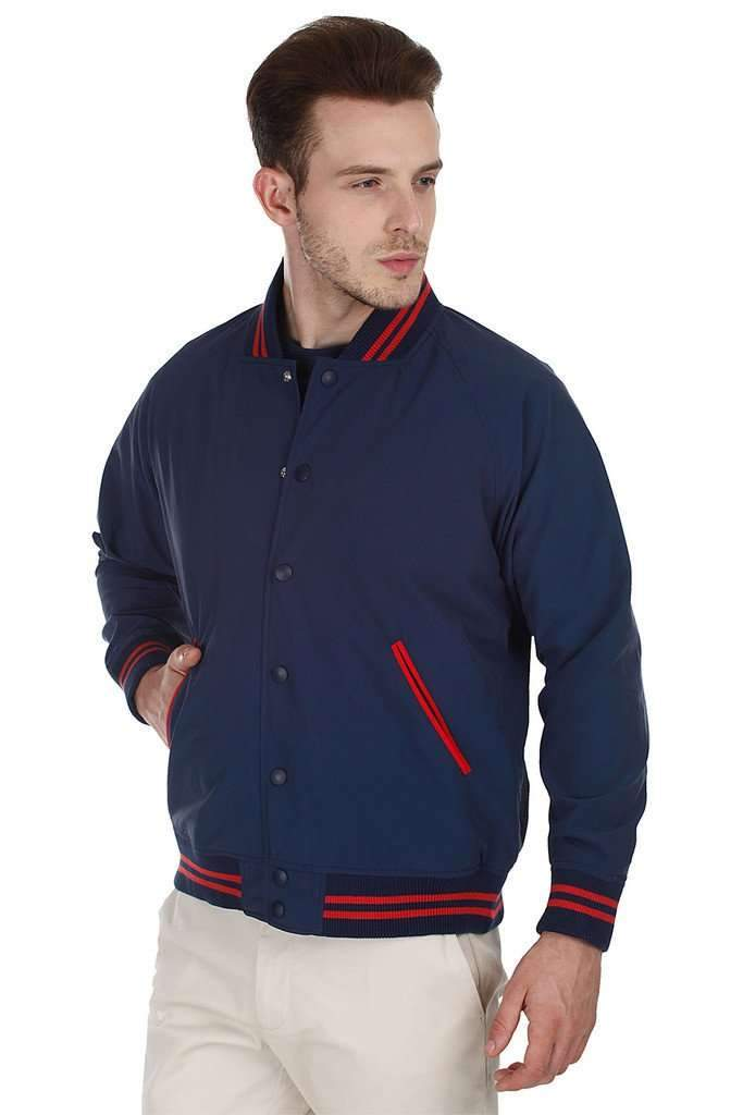 Navy Varsity Teflon Coated Nylon Jacket