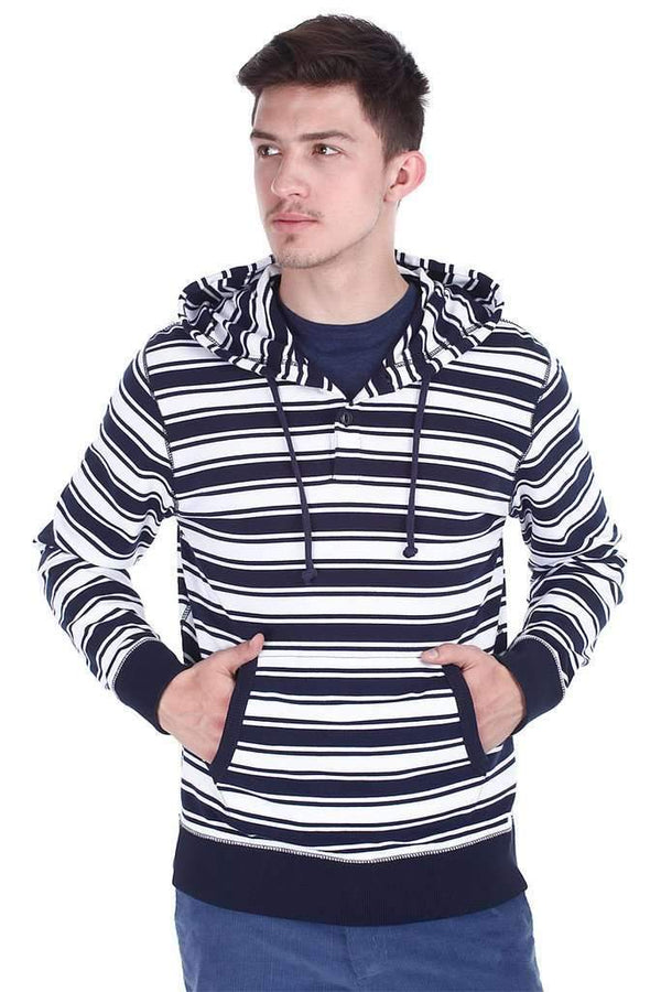 Navy And White Stripe Popover Hoodie
