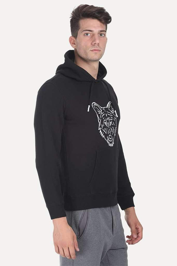 Solid Graphic Fleece Hoodie