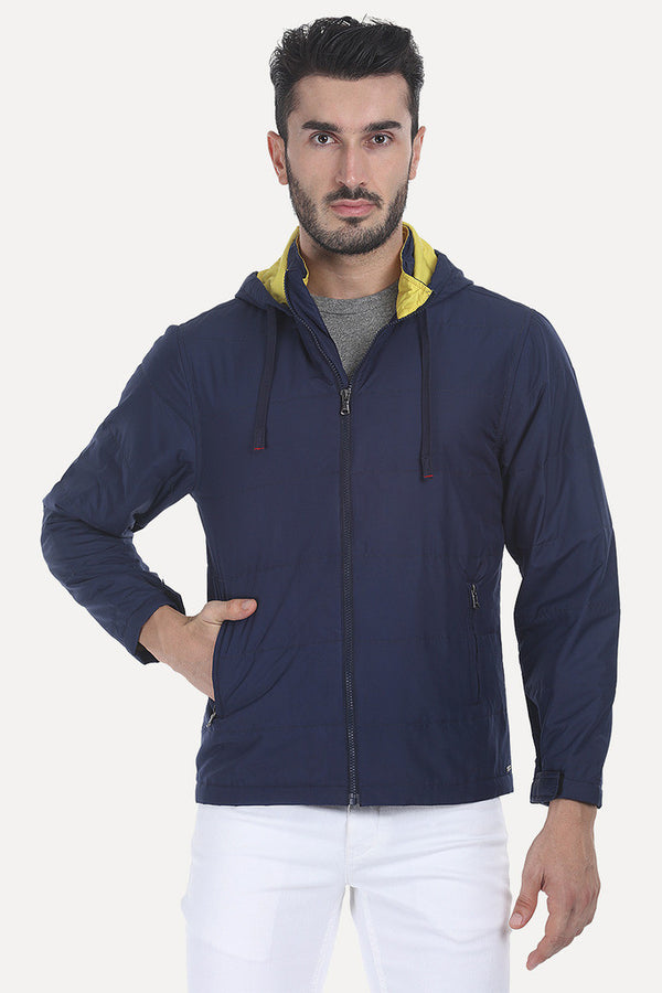 Solid Poly Padded Full Sleeves Jacket