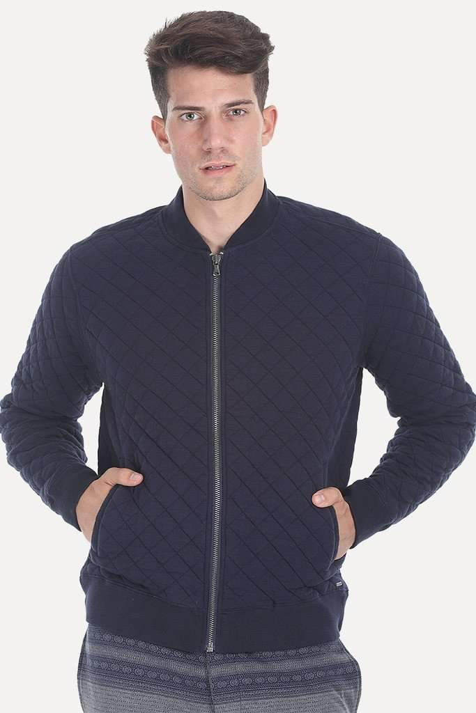 Solid Quilted Bomber With Poly Filling